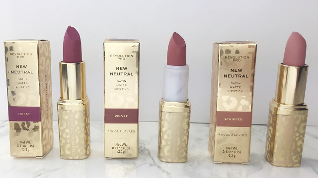 Revolution Pro - New Neutral Satin Matte Lipsticks - Review - Alle 3 Lippenstifte