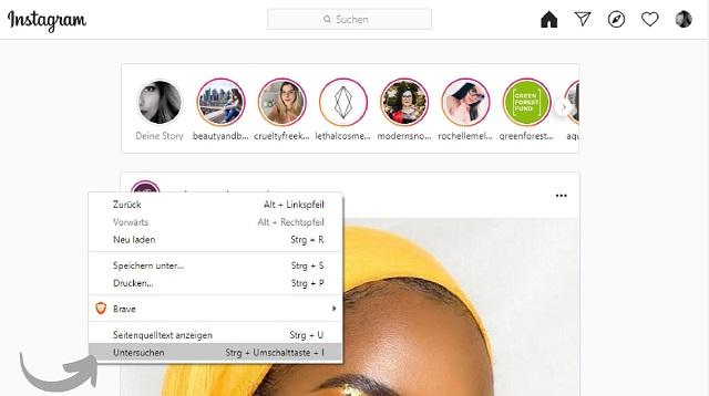 Instagram auf Computer verwenden - Dev Tools öffnen