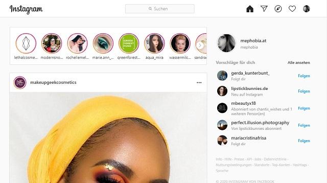 Instagram auf Computer verwenden - Normalansicht
