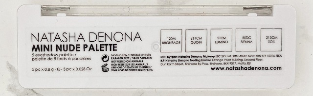Natasha Denona - Mini Nude Palette Review - Rückseite Beschriftung